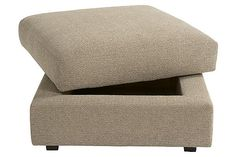 """The Tosha Ottoman With Storage from Ashley Furniture HomeStore (AFHS.com). The sleek Metro Modern design of the """"Tosha-Linen"""" upholstery collection features modular pieces that create a number of set-up combinations to fit within any living area without sacrificing the comfort of the thick boxed seat cushions and backs surrounded in a soft chenille fabric. Chenille Fabric, Chair And Ottoman, Seat Cushions, Furniture Decor, Living Area, Modern Design, Upholstery, House Design, Number"""