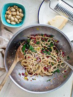 Pasta with Pomegranate, Pistachio, Parmesan, and Purple Kale