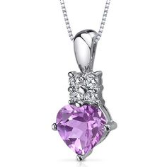 Captivating Love 1.50 carats Heart Shape Sterling Silver Rhodium Nickel Finish Pink Sapphire Pendant Peora