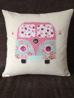 Patchwork personalised appliqued Campervan cushion on Etsy, £24.16