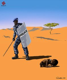 "Satirical Illustrations Portray How Police Officers From All Over The World ""Do Their Job"" - Art-Sheep Caricatures, Refugees, Satirical Illustrations, Meaningful Pictures, Surreal Photos, Religion And Politics, Les Religions, Political Cartoons, Police Officer"
