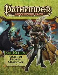 Pathfinder Adventure Path #50: Night of Frozen Shadows (Jade Regent 2 of 6) (PFRPG) | Book cover and interior art for Pathfinder Roleplaying Game - PFRPG, 3rd Edition, 3E, 3.x, 3.0, 3.5, 3.75, Role Playing Game, RPG, Open Game License, OGL, Paizo Inc. | Create your own roleplaying game books w/ RPG Bard: www.rpgbard.com | Not Trusty Sword art: click artwork for source