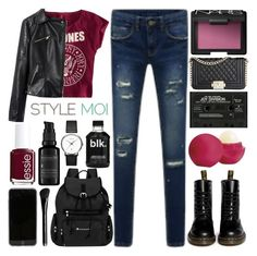 """No.2 Show Your Style With Stylemoi!"" by raelee-xoxo ❤ liked on Polyvore featuring Dr. Martens, H&M, Eos, NARS Cosmetics, Essie, Perricone MD, Sherpani, Georg Jensen, raeleespenguin and stylemoi"