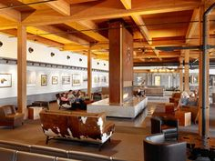 Jackson Hole is the gateway to Grand Teton and Yellowstone National Parks, world-class skiing and myriad summer sporting activities. Wood Architecture, Architecture Details, Jackson Hole Airport, Wood Truss, Invisible Cities, Workplace Design, Best Interior, Interior Design, Wyoming