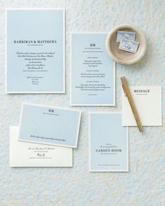 Traditionally, wedding stationery is white or ivory paper with black script or block lettering -- no color. But this suite by Elum (elumdesigns.com), with its light blue background and mix-and-match fonts, turns tradition on its head. The overall effect is every bit as timeless but has extra panache.