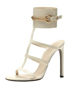 Gucci Patent Ankle-Wrap Cage T-Strap Sandal, Mystic White,