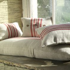 elorablue: Rustic Linen Cushion Cover 3 by Nkuku Fairtrade