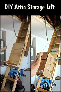 Need to store boxes in your attic? This DIY attic storage lift will help make the work faster and easier.