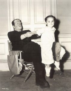Boris Karloff and daughter on the set