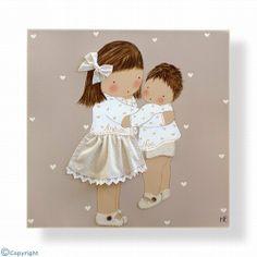Cuadro infantil personalizado: Niña con su hermanito (ref. 12083-01)