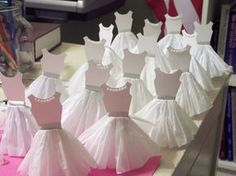 Tutorial: How to make Paper Dress Cupcake Toppers. I'll have to make pink of course and maybe make the skirts shorter to look like tutus. These would be perfect for a Ballerina Birthday Party. Ballerina Cupcakes, Première Communion, First Communion Party, Communion Favors, Ballerina Birthday Parties, Ballerina Party, Ballerina Outfits, Ballerina Dress, Cupcake Toppers