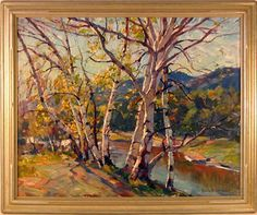 Stapleton Kearns: Color temperature usage in an Emile Gruppe painting Painting Snow, Autumn Painting, Painting Frames, American Impressionism, Modern Impressionism, Cool Paintings, Beautiful Paintings, Tree Paintings, Acrylic Paintings