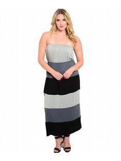Charcoal Stripe Maxi Dress $34.99  #alight #alightcom #plussize #plussizefashion #plussizeclothing #summer #summer2016 #trend #trendy #cute #plussizedress #plussizemaxidress #grey #charcoal #dress #maxi #maxidress #sale #plussizedress  Charcoal stripe maxi dress has a sleeveless upper with elastic neckline and waist. Unlined.