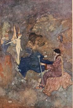 """Ariel: """"All prisoners, sir, In the lime-grove which weather-fends your cell"""" by Edmund Dulac frontispiece for Shakespeare's """"The Tempest"""" .1915"""