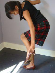 Wool Plaid Pendleton Straight Skirt