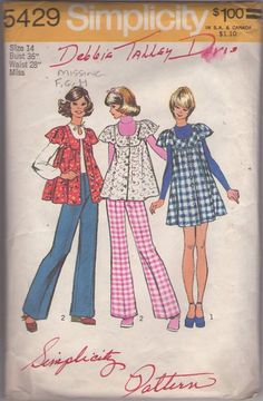 MOMSPatterns Vintage Sewing Patterns - Simplicity 5429 Vintage 70's Sewing Pattern Scoop Neck Smock Top, Flared Babydoll Jumper Dress & Pants Size 9/10