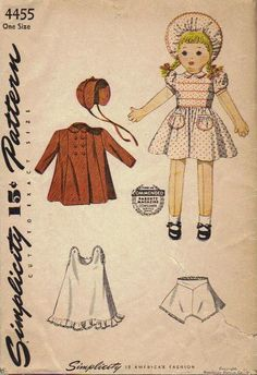 Rag Doll 1940s Sewing Pattern Simplicity Stuffed Baby Doll with Wardrobe Coat Hat Dress Vintage Toy Uncut. via Etsy.