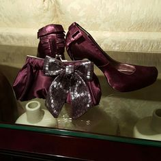 Evening bags and shoes 4in Eggplant color  evening bag and  pumps satin material Shoes Heels
