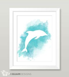 Dolphin Blue Watercolor Print Watercolor Dolphin by GuamDesigns