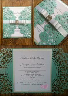 Tiffany Blue Laser Wedding Invitation with diamante embellishment  www.jenshandcraftedstationery.co.uk www.facebook.com/jenshandcraftedstationery