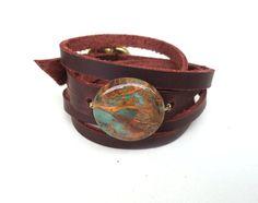 Ocean Jasper Cuff Leather Wrap Bracelet Handmade by AmbosDesigns
