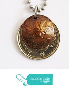 Canada Domed Coin Necklace Layered Pendant 25 cents 2008 1 Penny 1945 Maple Leaf…