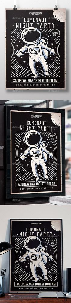 Space Cosmonaut Flyer Template #astronaut #techno Indie Festival, Print Design, Graphic Design, Psd Flyer Templates, Club Parties, Promote Your Business, Party Flyer, Night Club, Techno