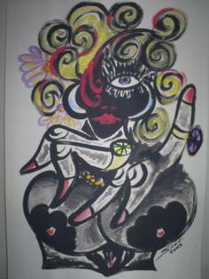 Viúva negra - Tinta acrílica sobre cartolina.