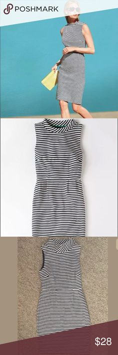 BODEN Sixties Ponte Black And White Striped Dress BODEN Sixties Ponte Black And White Striped Dress Faux Turtleneck Sleeveless Size 2 R 98% cotton, 2% elastane outer 100% polyester lining Preowned Boden Dresses