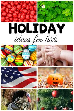 These holiday ideas for kids are such a great help when planning out the preschool year! Love that there are seasonal and holiday activities for preschoolers to help with planning. Easter Activities For Preschool, Father's Day Activities, Thanksgiving Preschool, Halloween Activities For Kids, Valentines Day Activities, Preschool Classroom, Holiday Activities, Classroom Ideas, Halloween Science