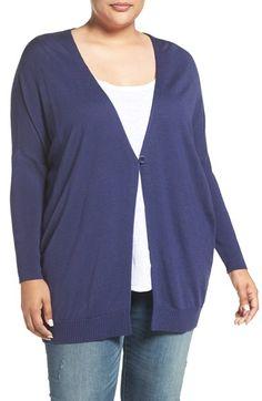 Sejour Dolman Sleeve Merino Blend Cardigan (Plus Size)