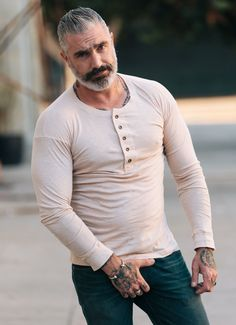 This cotton long sleeve henley was inspired by the vintage mens henley from the turn of the century. This mens henley is the perfect piece for every season. Older Mens Fashion, Fashion Fashion, Style Masculin, Women's Henley, Beard Styles For Men, Hommes Sexy, Moustaches, Long Sleeve Henley, Mature Men