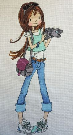 0 point de croix jeune femme en jeans et appareil photo  - cross stitch modern young woman with a camera