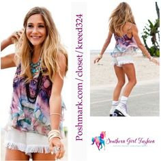 """SHOW ME YOUR MUMU Tank Top Rainbow Python Swing Size Small. New with tags.  $118.  -100% Poly Chiffon. -Semi-Sheer. -Double layering creates lining. - Adjustable straps.  - Loose fit.  - no size indicated, however fits a size small. Please note garment is loose fitting.   Measurements:  Length: 15"""" Bust: 34""""  ❗️ Please - no trades, PP, holds, or Modeling.   ✔️ Reasonable offers considered when submitted using the blue """"offer"""" button.    Bundle 2+ items for a 20% discount!    Stop by my…"""