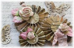 Handmade Shabby Chic Rosette Flowers with Butterflies and Stick Pin, Vintage Music Sheet, Scrapbooking, Mini Album, Cardmaking,Wedding