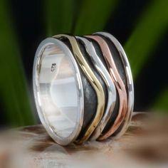 925 SOLID STERLING SILVER THREE TONE SPINNER RING 8.98g DJR10612 SZ-9 #Handmade #Ring