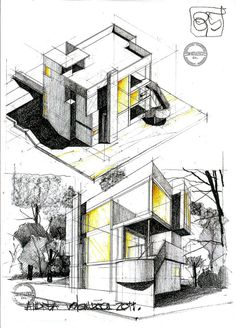 The Smith House Achitect: Richard Meier Location: Darien, Connecticut Date: 1965 to 1967 Modern Architecture Architecture Concept Drawings, Architecture Sketchbook, Architecture Graphics, Art And Architecture, House Sketch, House Drawing, Schematic Design, Casas Containers, Kunst Poster