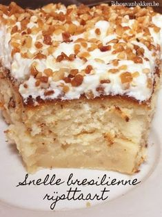 Ik hou van bakken: Snelle brésilienne rijsttaart (nougatine) Dutch Recipes, Baking Recipes, Sweet Recipes, Cookie Recipes, Snack Recipes, Dessert Recipes, Bbq Desserts, No Bake Desserts, Delicious Desserts