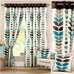 NEXT SEASONS DESIGNER EYELET RING TOP LINED CURTAINS TEAL SPICE PURPLE W46 66 90   eBay