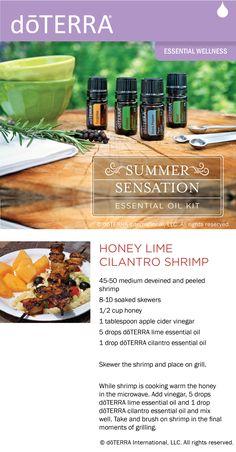 Recipe for honey lime cilantro shrimp made with d?TERRA lime and cilantro essential oils.