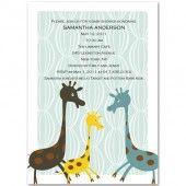 cute giraffe family baby shower invitation bs011