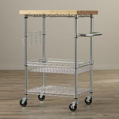 Trinity EcoStorage Kitchen Cart with Wood Top