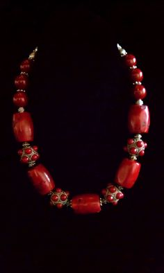 Rich Red Corals with Silver & Red Beads