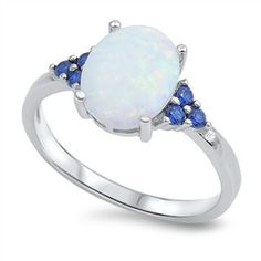 925 Sterling Silver, Lead and Nickel Free, Comes in a Cotton Filled Gift Box, Face Height 10 Millimeters, Blue Cubic Zirconia and Lab White Opal