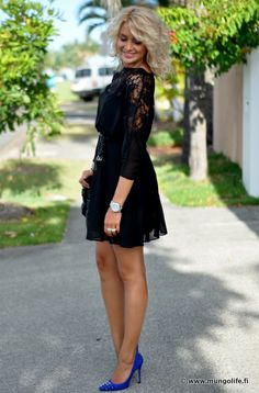 Love the combination of black lace dress and royal blue studded heels ♥