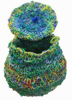 Ghost Net Basket by Maria Ware Contemporary Baskets, Fabric Bowls, Textile Fiber Art, Weaving Art, Recycled Art, Soft Sculpture, Fabric Art, Basket Weaving, Creations