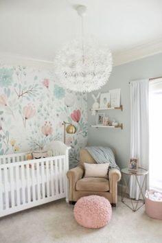 20 Ideas baby girl nursery wallpaper floral wall for 2019 Baby Bedroom, Baby Boy Rooms, Nursery Room, Girls Bedroom, Girl Rooms, Baby Girls, Nursery Decor, Bedroom 2018, Babies Nursery