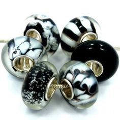 "http://cheune.com/store .925 Sterling Silver "" 6 Beads Shades of Black "" Murano Glass Beads Fits Pandora Troll Chamilia Carlo Biagi Zable"