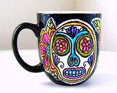 Sugar Skull Mug Day of the Dead Coffee Cup Folk Art Painted Tattoo Flowers pink orange turquoise black