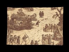 Archery Toile Fabric - Brown printed textile fragment (faded from dark purple) with white ground; scene of people in 18th-century costume (including kilts) practicing archery, driving carriages, and drinking in a field tent - English, used in Lexington, Massachusetts, USA - late 18th century